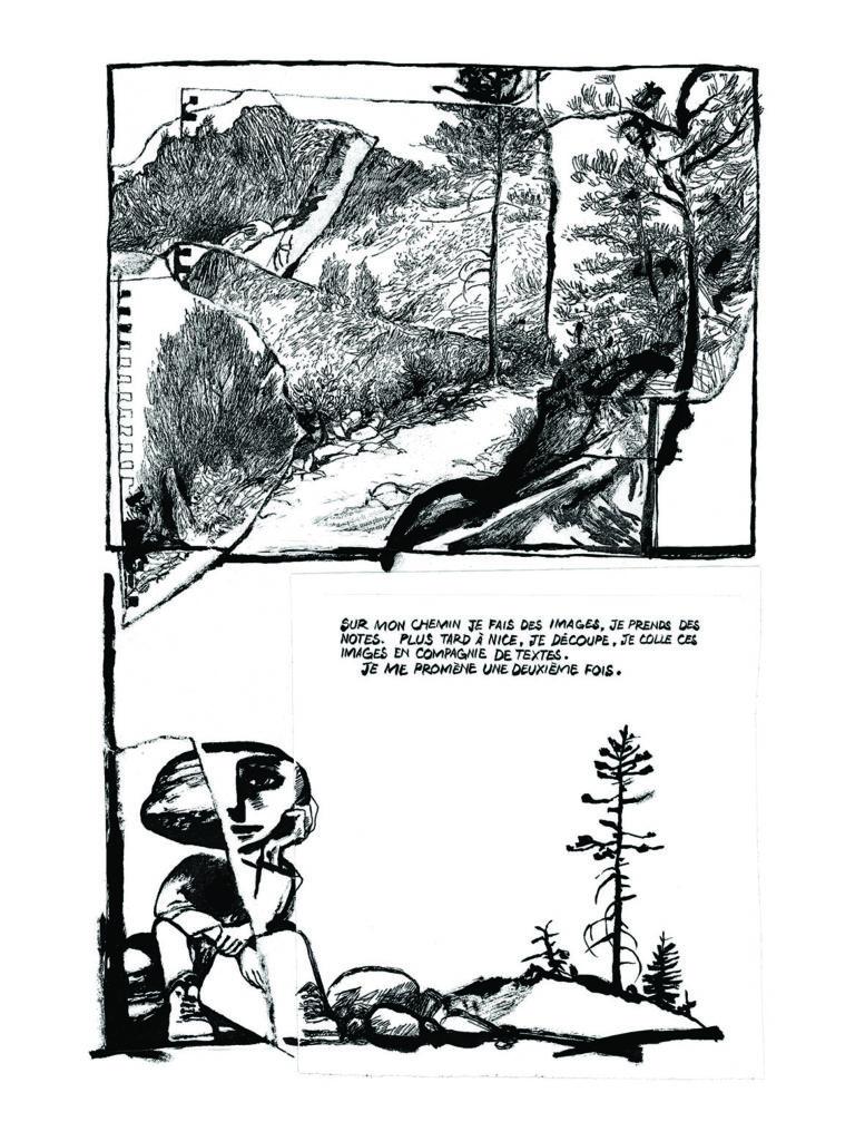 Edmond Baudoin Image extraite de Les chemins de Saint-Jean, éd. L'Association, 2004, p.18. Encre de Chine sur papier, 40,5 x 26,5 cm. © Edmond Baudoin & L'Association