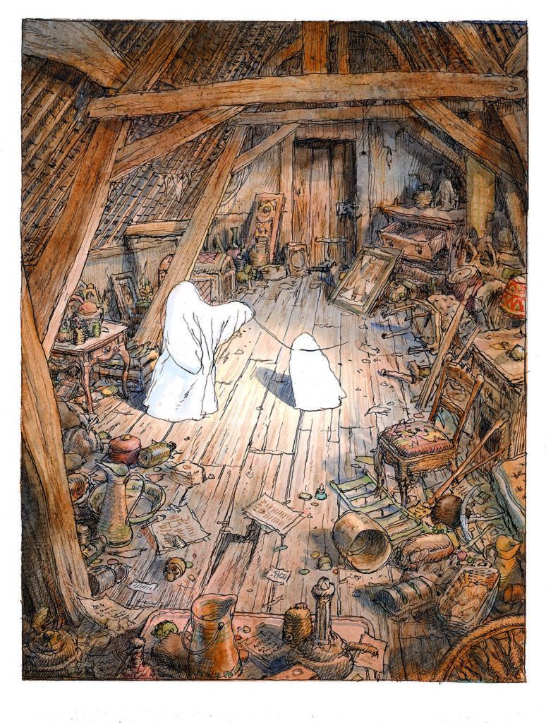 Nicolas de Crécy Image extraite de Les Amours d'un fantôme en temps de guerre, éd. Albin Michel, 2018, p. 45. Aquarelle et encre noire sur papier, 24 x 32 cm. © Albin Michel