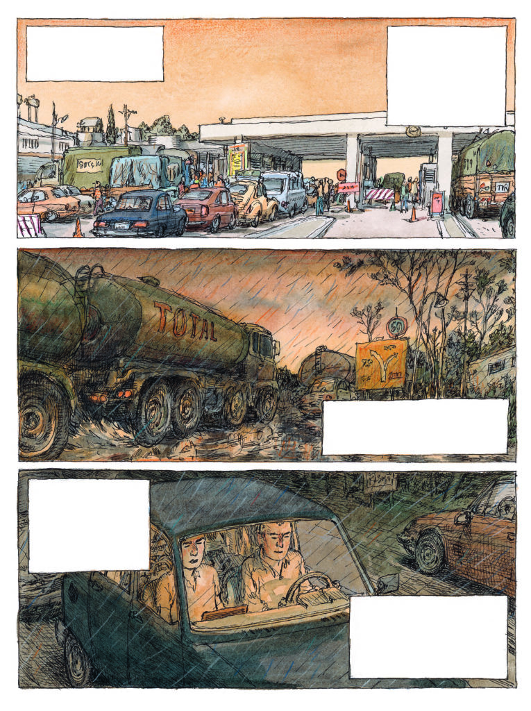 Nicolas de Crécy Image extraite de Visa Transit, Volume 1, éd. Gallimard, 2019, p. 68. Aquarelle et encre noire sur papier, 24 x 32 cm. © Gallimard