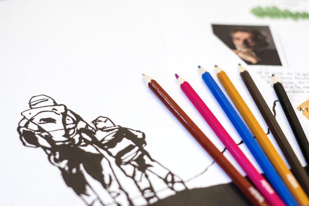 "Activité Bullu'kit ""Dessine l'horizon avec Edmond Baudoin"" © Fondation Bullukian"