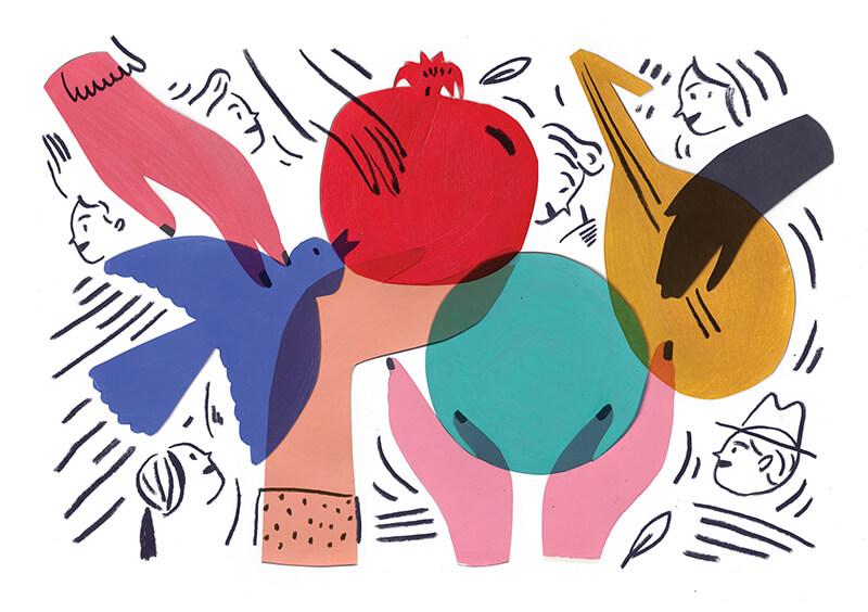 Dessin original d'Edith Carron pour la carte de voeux de la Fondation Bullukian pour l'année 2018 © Droits réservés